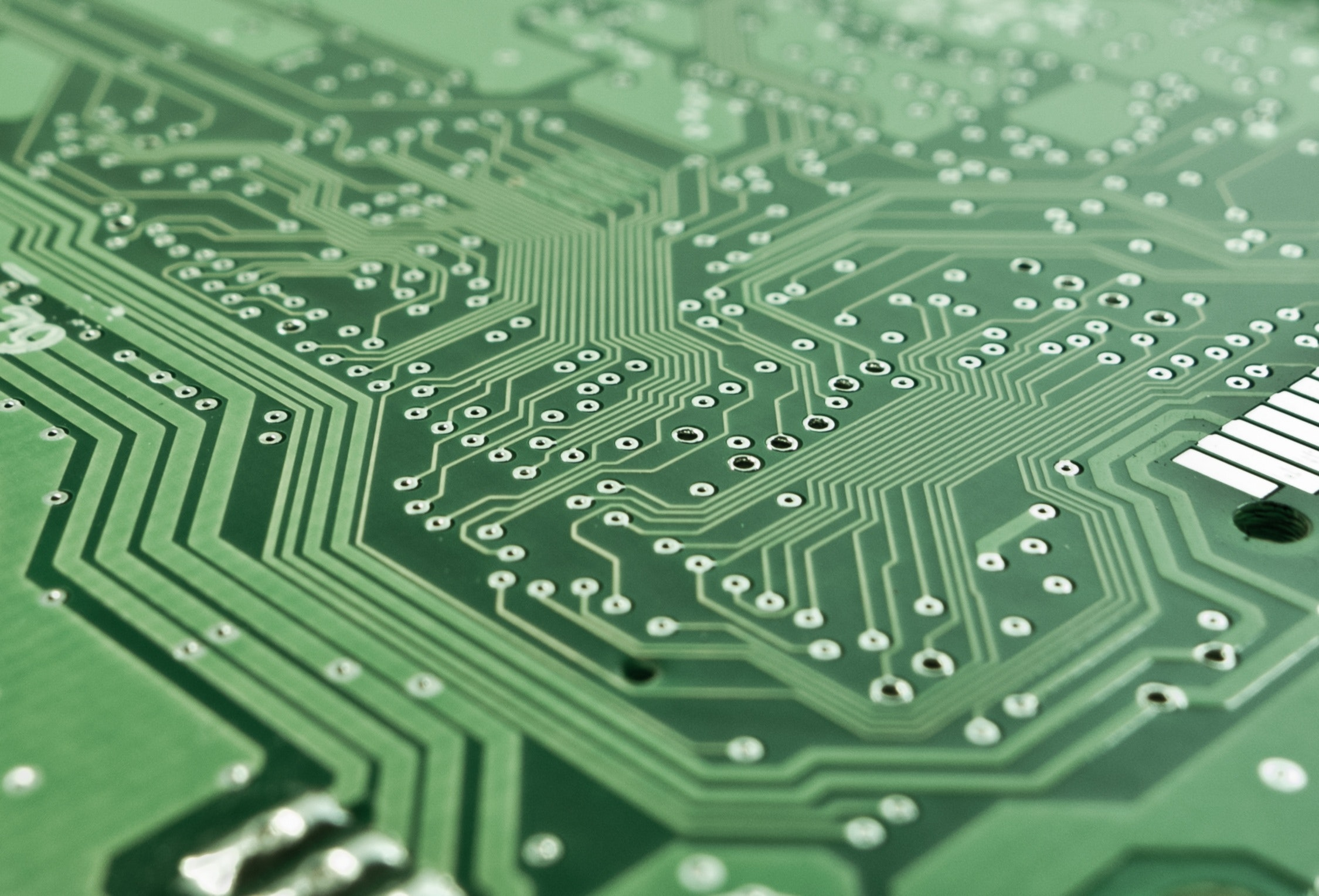 Close-up view of a computer circuit board