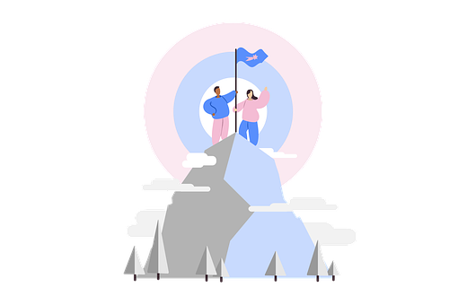 A stylized image of two people standing on a mountain holding a flagpole.